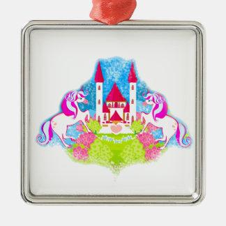 cute unicorns Decoration Silver-Colored Square Decoration