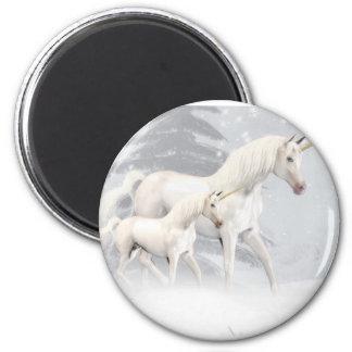 Cute Unicorns In Snow 1 Magnet