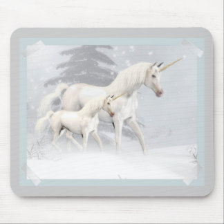 Cute Unicorns In Snow 1 Mouse Pad