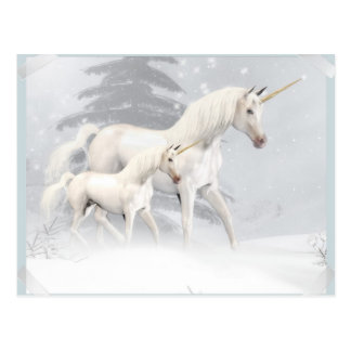 Cute Unicorns In Snow 1 Postcard