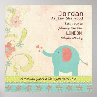 Cute Unisex Baby Birth Date Elephant Nursery Poster