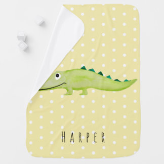 Cute Unisex Watercolor Crocodile Safari Dots Name Baby Blanket
