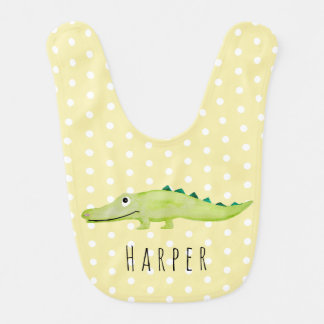 Cute Unisex Watercolor Crocodile Safari with Name Bib