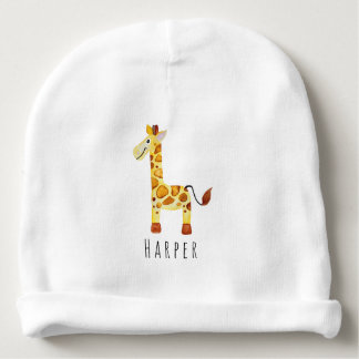 Cute Unisex Watercolor Giraffe Safari with Name Baby Beanie
