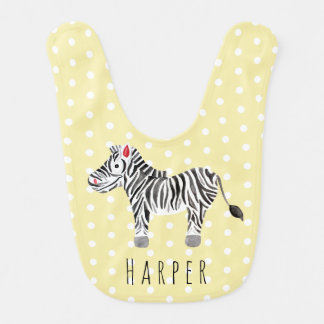 Cute Unisex Watercolor Zebra Safari with Name Bib