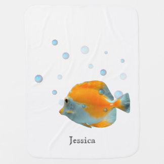 Cute Unisex Yellow Coral Fish Baby Shower Custom Receiving Blankets
