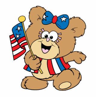 cute USA patriotic girl teddy bear design Standing Photo Sculpture