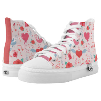 Cute Valentine Background Zipz High Top Shoes Printed Shoes