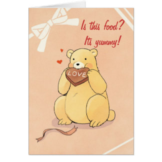 Cute Valentine Bear Eating Chocolate Greeting Card