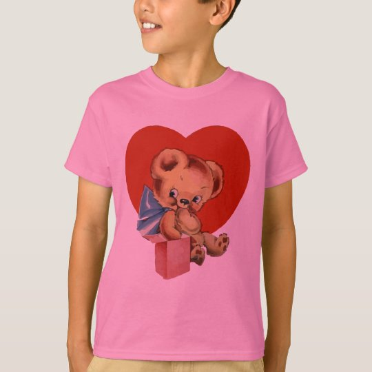 Cute Valentine Bear on pink flowered background T-Shirt