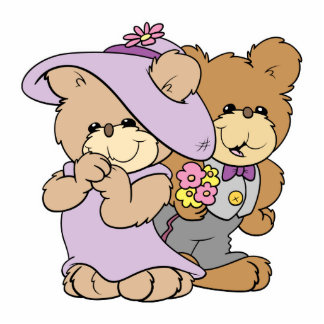cute valentine date teddy bear couple photo cut outs