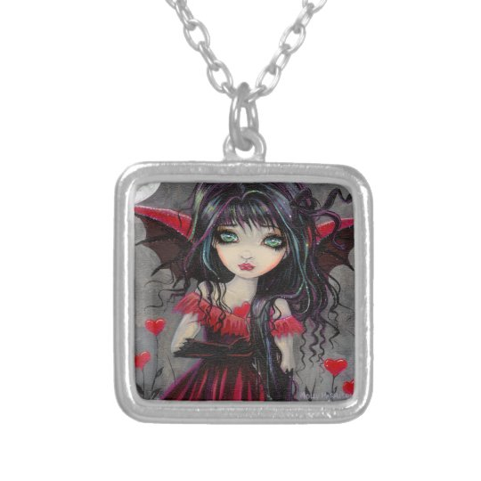 Cute Valentine Gothic Vampire Fairy Art Silver Plated Necklace