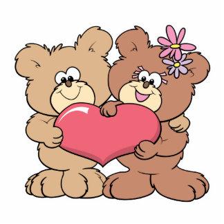 cute valentine heart teddy bear couple acrylic cut out