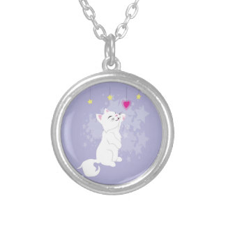 Cute Valentines Day Kitty Round Pendant Necklace
