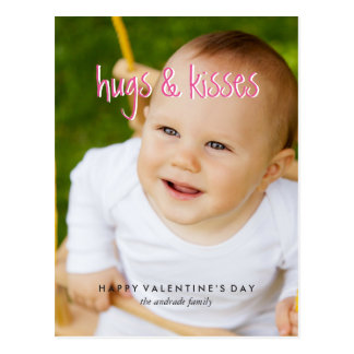 Cute Valentines Day Photo Hugs Kisses Vertical Postcard