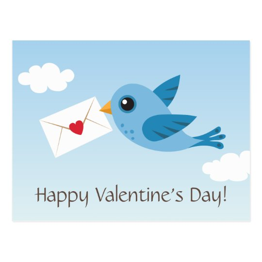 Cute Valentines day postcard with blue bird