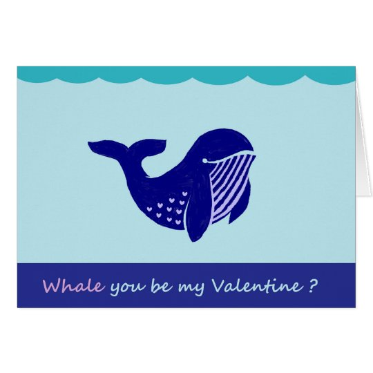 Cute Valentine's Day Whale Funny Greeting Card