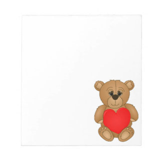 Cute Valentines Teddy Bear with Big Heart Memo Note Pad