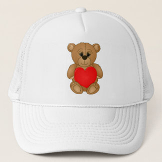 Cute Valentines Teddy Bear with Big Heart Trucker Hat