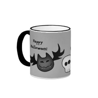 Cute vampire bat and skull Happy Halloween funny Ringer Mug