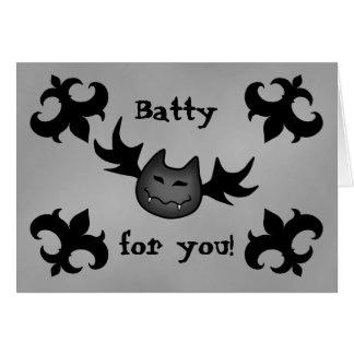 Cute vampire bat Halloween funny romance Greeting Card