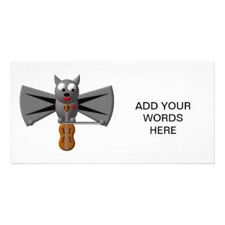 Cute vampire bat playing the violin photo cards