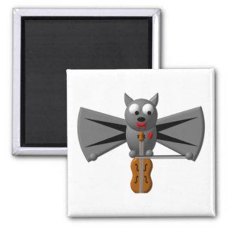 Cute vampire bat playing the violin square magnet