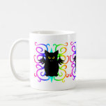 Cute vampire bat rainbow damask mugs