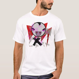 cute vampire design grey with red fangs T-Shirt