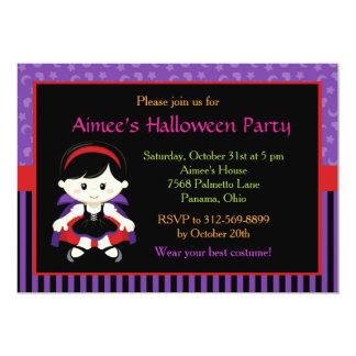 Cute Vampire Girl Halloween Party Card