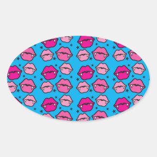 cute vampire lips pattern oval sticker