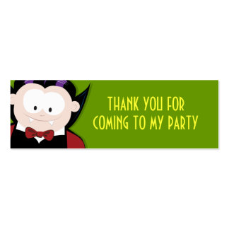 Cute Vampire Thank You Party Favour Cards Pack Of Skinny Business Cards