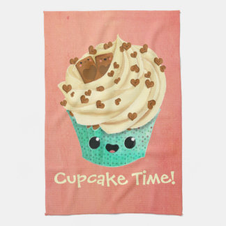 Cute Vanilla Chocolate Cupcake Tea Towel