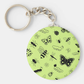 Cute Vector Bugs Butterflies Grass Green Back Key Chain