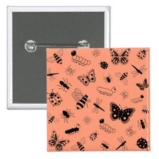 Cute Vector Bugs & Butterflies (Tangerine Orange) 15 Cm Square Badge