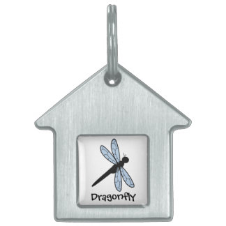 Cute Vector Dragonfly Pet Name Tags