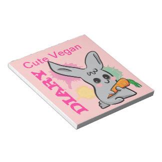 Cute Vegan Bunny pink diary notepad