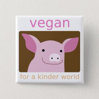 Cute Vegan Pig 15 Cm Square Badge