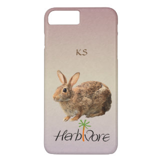 Cute Vegetarian Bunny Monogram Pastel Purple iPhone 7 Plus Case