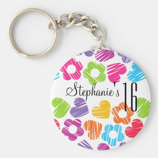 Cute vibrant flowers hearts Sweet Sixteen Keychain