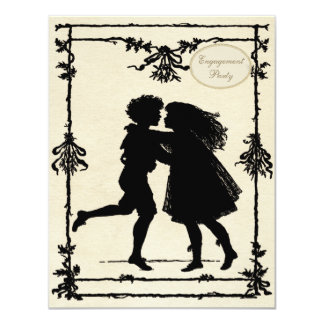 Cute Victorian Children Silhouettes Engagement Card