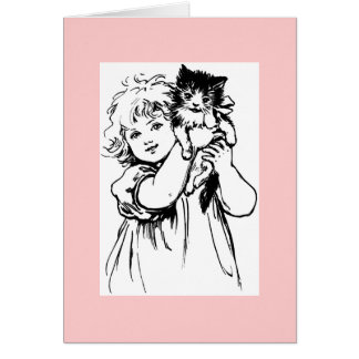 Cute Victorian Drawing of Girl with Cat Note Card