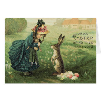 Cute Victorian Girl Doll Easter Bunny Card
