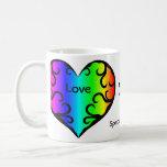 Cute victorian rainbow heart anniversary basic white mug