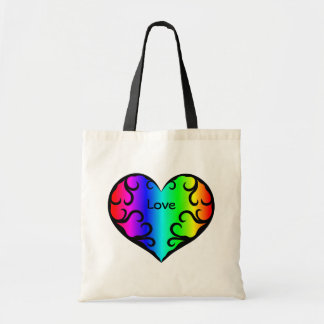 Cute victorian rainbow heart light budget tote bag