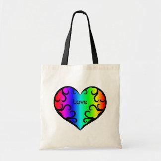 Cute victorian rainbow heart light budget tote bag