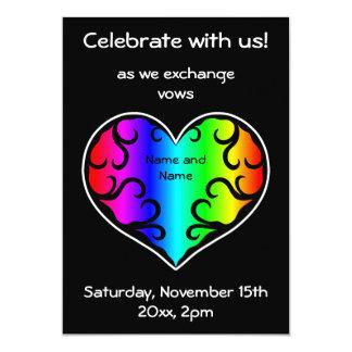 Cute victorian rainbow heart wedding 13 cm x 18 cm invitation card