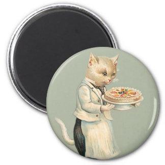 Cute Victorian White Cat with Dessert -  Vintage 6 Cm Round Magnet