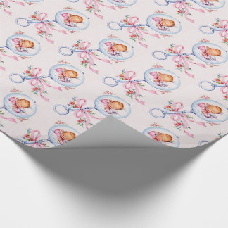 cute vinatge new baby,baby shower wrapping paper