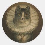 Cute Vintage 19th Century Cat Round Stickers